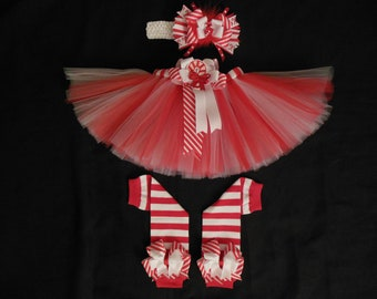 "Christmas tutu set ""Candy Cane cutie"" custom made in your choice of size Newborn-4t"