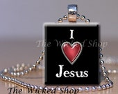 Black Friday - Cyber Monday Scrabble Tile Pendant -I love Jesus  -  Free Silver Plated Ball Chain (CHT2)