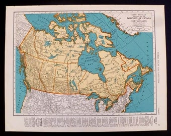 Vintage Map of Canada Dominion of Canada and Newfoundland