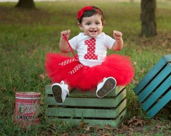 Girls Birthday Tutu Outfit and Matching Headband | Red Polka Dot Number or Initial | Birthday Photo Prop, Party Dress