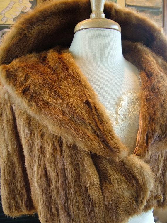Vintage Mink fur stole wedding dress wrap cape bolero wedding coat jacket