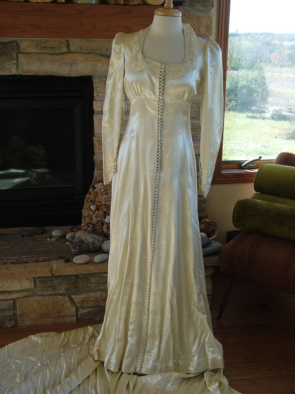 Wedding Dress Vintage Slipper Satin Camelot 1940s 1930s
