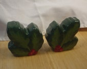 Vintage Christmas Holly n berry Salt and Pepper Shaker