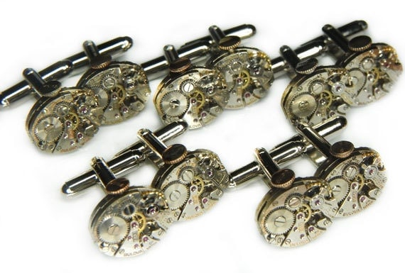 Steampunk Cufflinks Cuff Links x5 Pairs - Watch Movements TORCH SOLDERED - Silver BULOVA w/ Crowns - Wedding, Best Man, Groomsmen Gifts