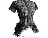 Blouse Korinthe black lace, Victorian mourning, steampunk noir, burlesque, Somnia Romantica by Marjolein Turin - SomniaRomantica