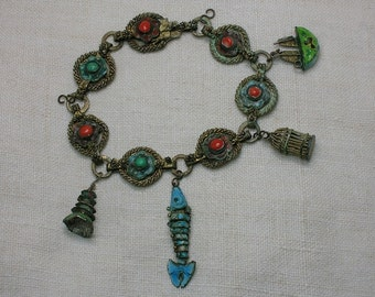 Antique Chinese Bracelet, Enamel Charms, late Ching Dynasty early Republic