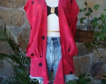 80s SILK DOT VEST vintage oversized drape blouse S