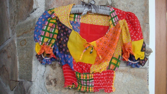 PATCHWORK CROPPED PEASANT top blouse vintage 1970s S