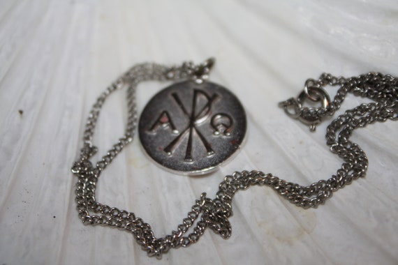 Chi Rho Pendant Medallion Alpha and Omega Silver Tone