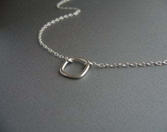 Silver Square Necklace Everyday Jewelry