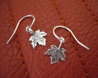 Silver Maple Leaf Earrings ,Sterling Silver Maple Leaf Earrings