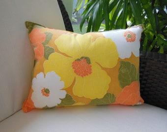 Yellow Pillow - Peach Lumbar Pillow - Mod Flower Decorative Accent Throw Pillow - 12 x 16 inch Reversible - Sunny Delight Design Pillow
