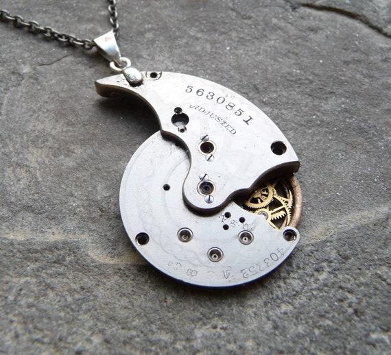 "Mechanical Pendant ""Nautilus"" Machine Art Deco Recycled Clockwork Watch Parts Sculpture Steampunk Sculpture Necklace AMECHANICALMIND"