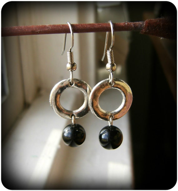 Black Onyx Earrings 'O' Earrings
