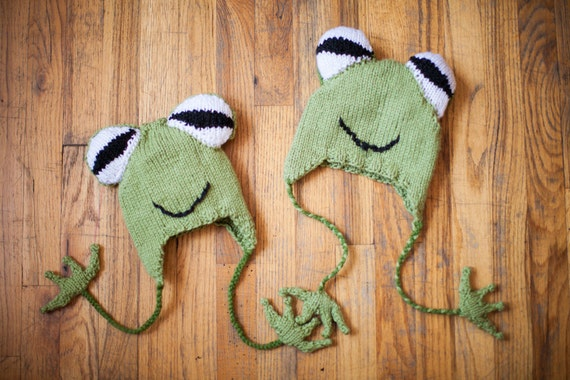 Knit Pattern For Frog Hat : Hyla Frog Hat Knitting Pattern by icanknitanything on Etsy