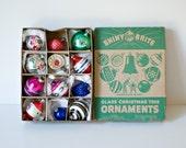 One Dozen Glass Mini Bulbs Assortment in Shiny Brite Box