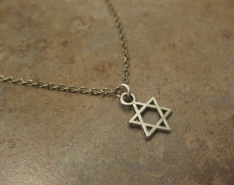 star of David necklace, Magen David necklace, Jewish necklace, Jewish jewelry, Judaica, mens star of David necklace, star necklace