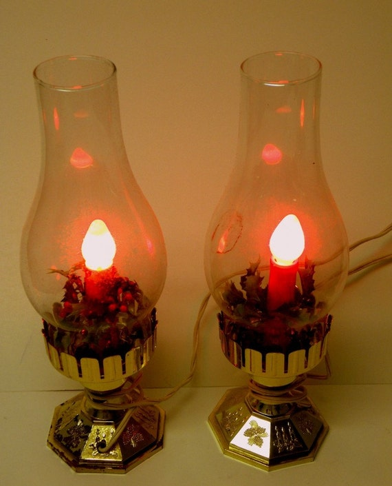 Vintage christmas hurricane lamp