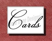 Wedding Reception Cards Sign or Poster DIY Print Ready