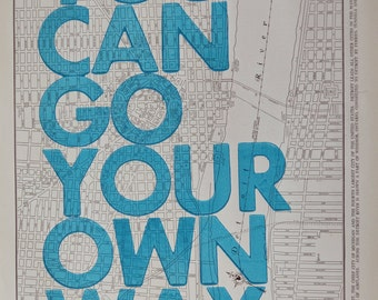 Detroit /  You Can Go Your Own Way/ Letterpress Print on Antique Atlas Page