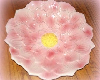 Large Vintage Pink Petal Flower Bowl from Marshall Field's. Chicago IL. Petal Design