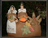Primitive Thanksgiving Pilgrim and Turkey Stump Dolls Folk Art