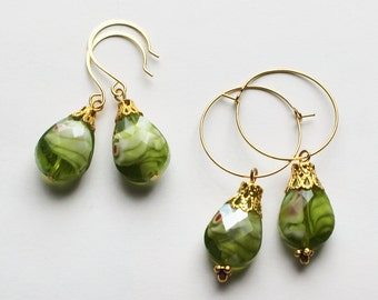 Elegant green teardrop dangle earrings, hoop earrings, stone earrings, green