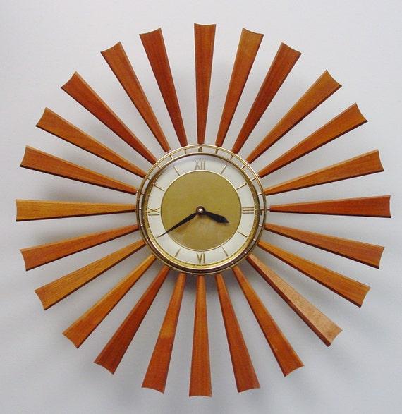 Midcentury Modern Starburst Clock, 24 Teak Rays, Atomic Wall Clock, Sunburst Design Modern Clock, Mad Men