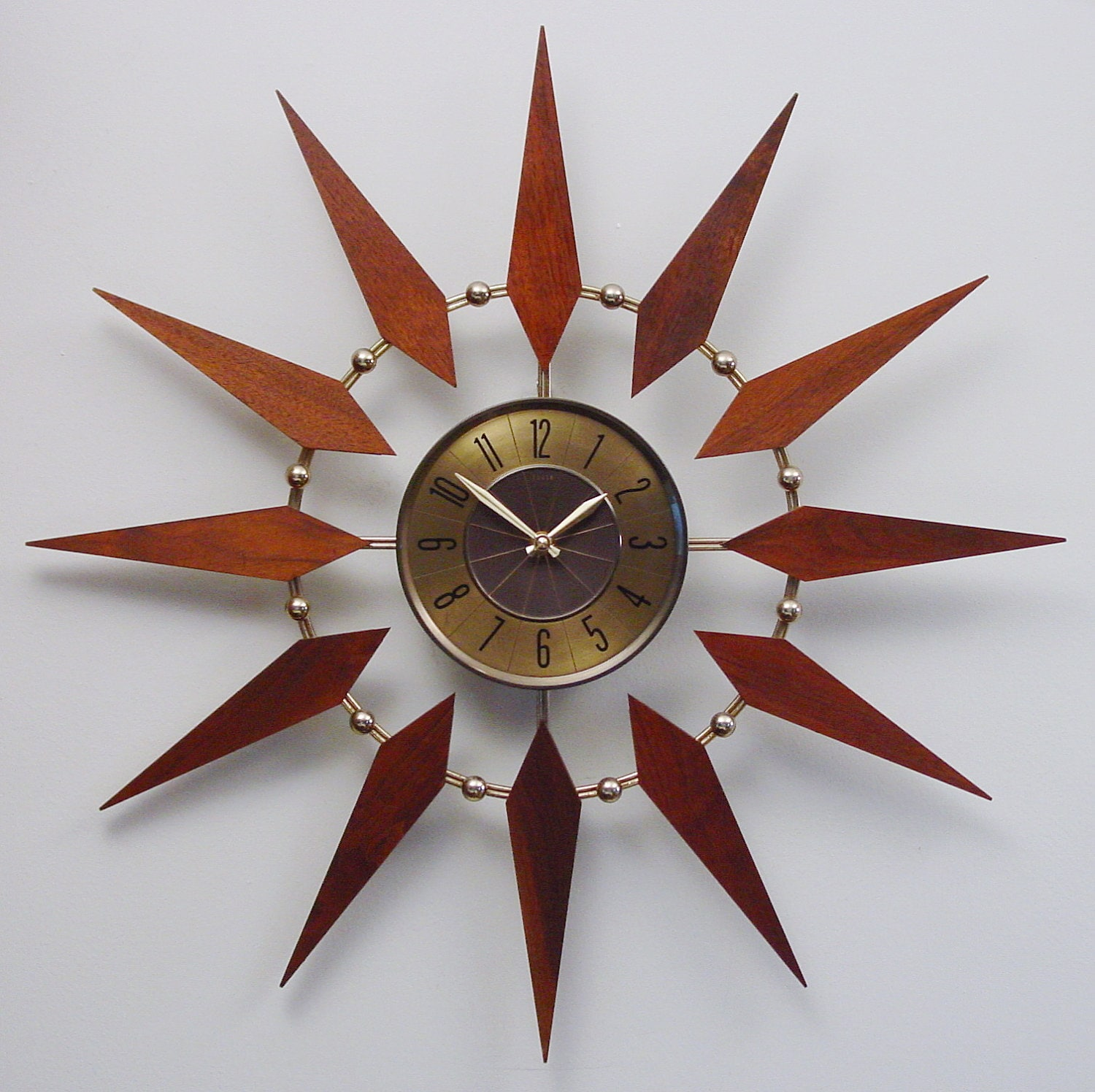Starburst Clock By Elgin Mid Century Modern Atomic Wall