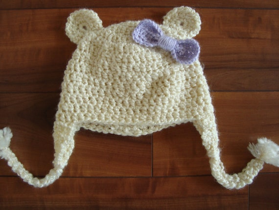 Bear Ear Winter Hat with Removeable Bow - Baby to Child Sizes
