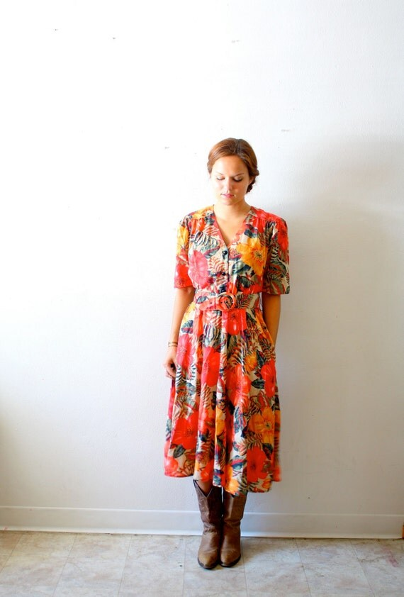 50% OFF Vintage summer modest belted dress