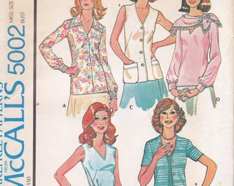 1970s Vintage Pattern Set of Blouses sewing pattern size 12 bust 34 McCalls 5002 from 1976 70s Fashion Shirts Tops