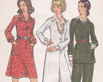 Butterick 6910 12 bust 34 dress tunic pants uncut sewing pattern