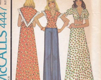 1975 McCalls 4447 tops and skirt sewing pattern misses size 8