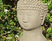 BUDDHA HEAD PLANTER - Stone Gardening Container - Original Copyrighted Sculpture (a)