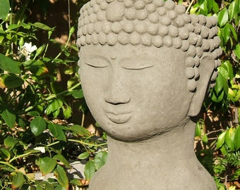 BUDDHA HEAD PLANTER - Stone Gardening Container - Original Copyrighted Sculpture (a)
