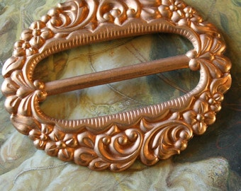 Vintage DECO Ornate Copper look Brass Buckle