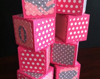 Custom Alphabet Blocks, Wooden Alphabet Blocks, Personalized Baby Blocks, Baby Shower Gift, Polk-a-dot blocks