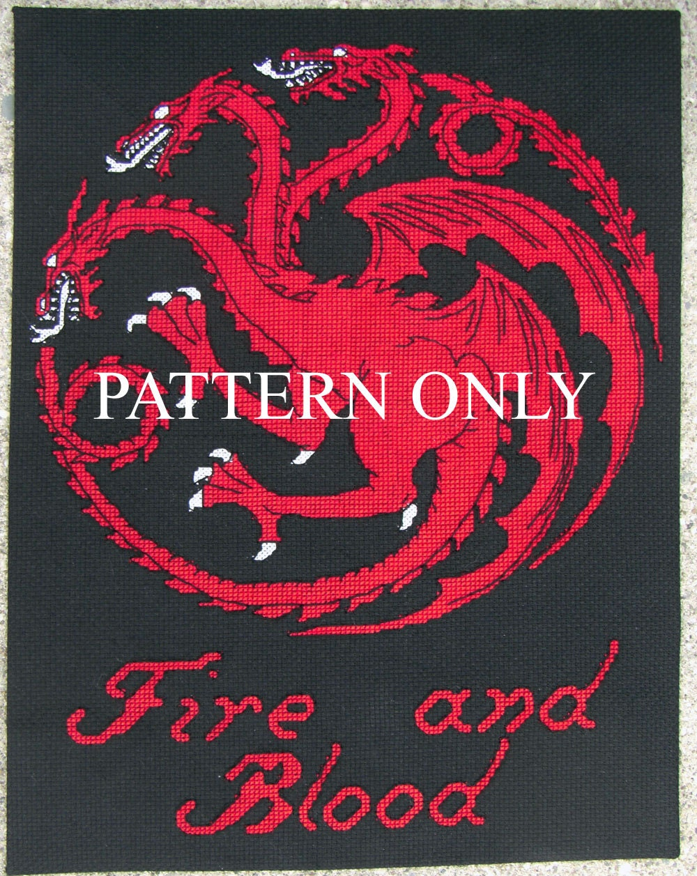 Targaryen sigil and words game of thrones cross stitch