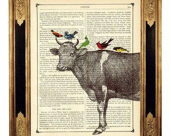 Cow Cattle with birds Shabby Chic country cottage farm - Vintage Victorian Book Page Art Print Steampunk