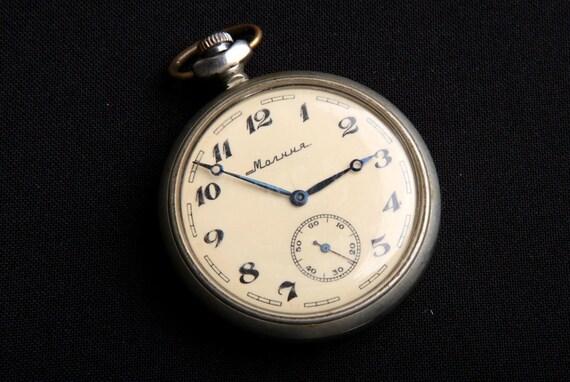 Molnija - WOLVES - Hunter Design Vintage Russian Pocket Watch Melchior CAse