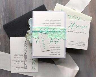 "Elegant Script Wedding Invitations, Mint Green and Gray Invitations, Modern Invitations, Formal Wedding, Black Tie - ""Mint Script"" Sample"
