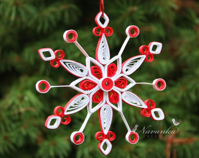 Paper Quilled Snowflake Ornament in Red and White in gift box, Christmas gift