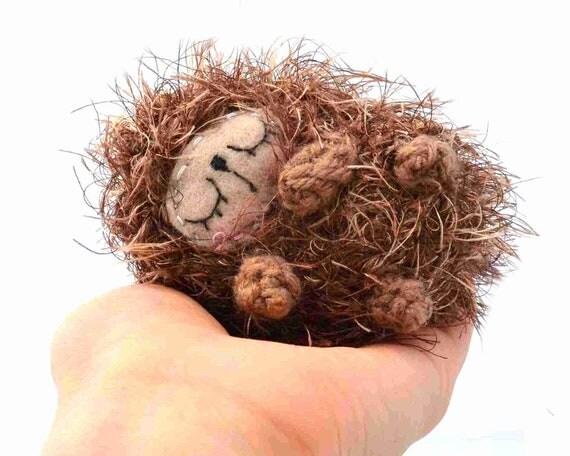 hedgehog woodland amigurmi plush stuffed animal sleeping sleepy baby gift wrapped OOAK ready to ship beige brown crochet