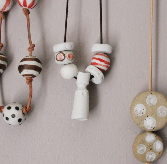 White handmade ceramic pendant-the goddess-tribal jewellery-primitive-OOAK