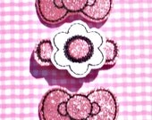 Pick any Three Embroidered Hair Clips from my store. Shown Sparkly Pink Hair Clip Trio, barrette,