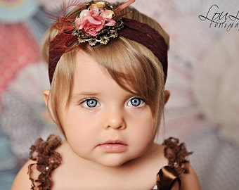 Brown Burnt Orange Flowers and Lace Headband  Newborn Infant Toddler Big Girl Headband Petti Romper Photography Prop