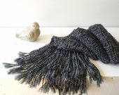 Hand knit charcoal gray scarf / rustic / autumn / winter / neck cozy / soft / neck warmer / long / lush fringes / country chic