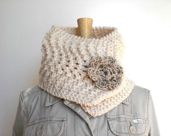Hand knit scarflette / snow white winter cowl scarf / urban rustic neck cozy / soft white cottage chic scarf / crochet flower gray brooch
