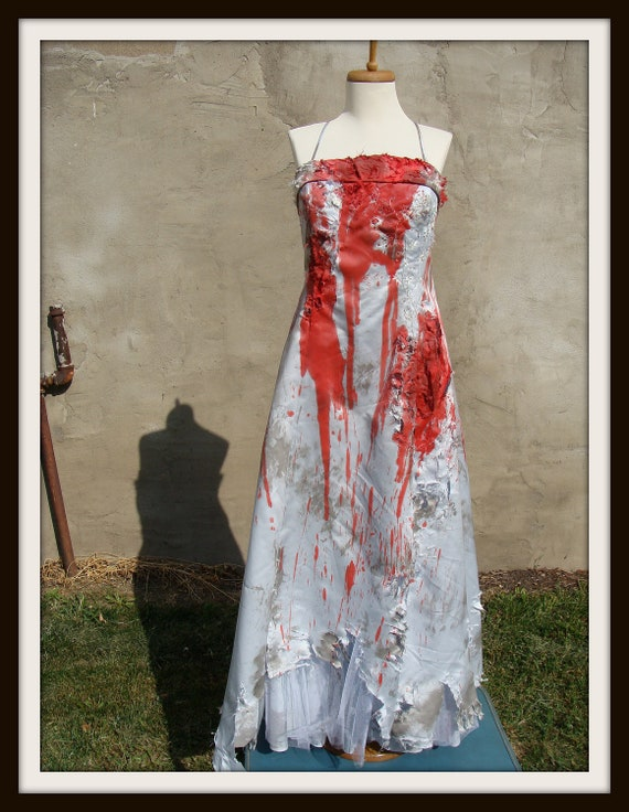 zombie bridesmaid bride prom wedding dress gown costume 14 large l